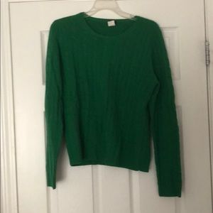 Green wool cable knit sweater